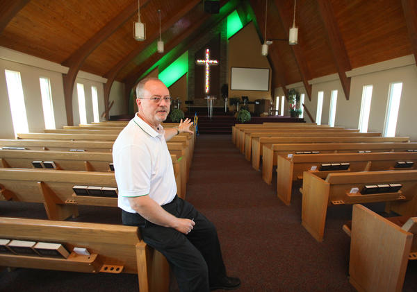 Pastor Randy Battey talks about the recent remodeling of the sanctuary at Calvary Baptist Church.