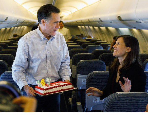 Mitt Romney brings a cake to Maeve Reston