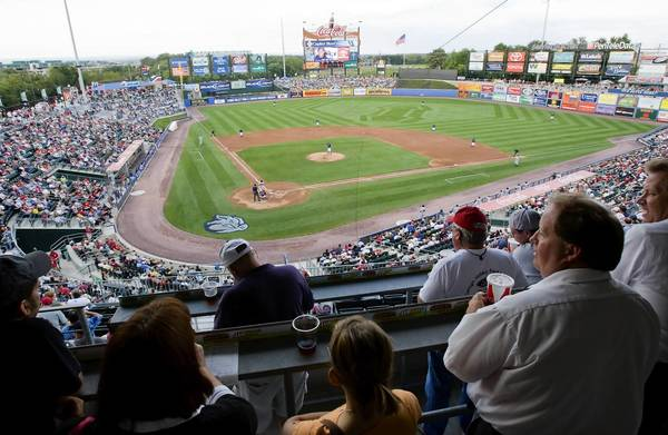 A typical sold out crowd of fans fills the stadium during an Ironpigs game against the Buffalo Bisons at Coca-Cola Park. The success of the AAA franchise brings optimism that hockey will be received in the Lehigh Valley with equal enthusiasm.