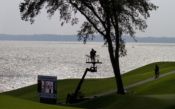 The Golf Channel provided hole by hole coverage of the LPGA Kingsmill Championship Saturday as shown her on #16.