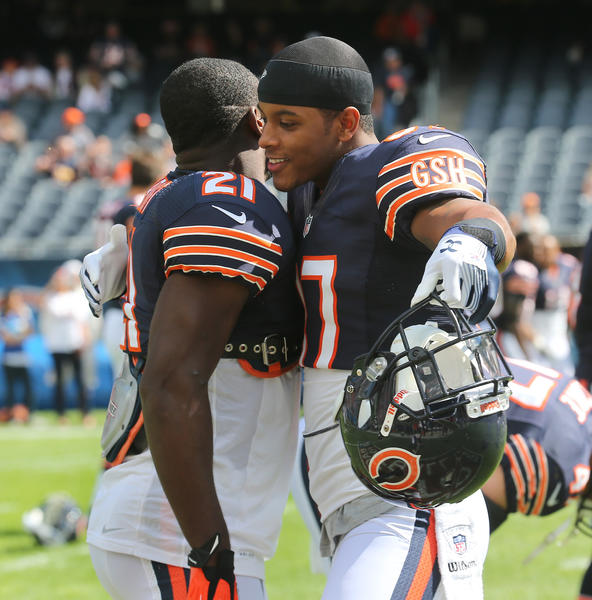 Chicago Bears strong safety Major Wright (21) and Chicago Bears defensive back Anthony Walters (37)  before the start of the game against the Indianapolis Colts at Soldier Field, in Chicago on Sunday, September 9, 2012.