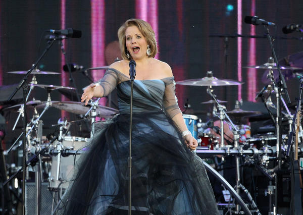 Renee Fleming appears in an Oscar de la Renta gown when she performs in the celebration of Queen Elizabeth II's Diamond Jubilee.