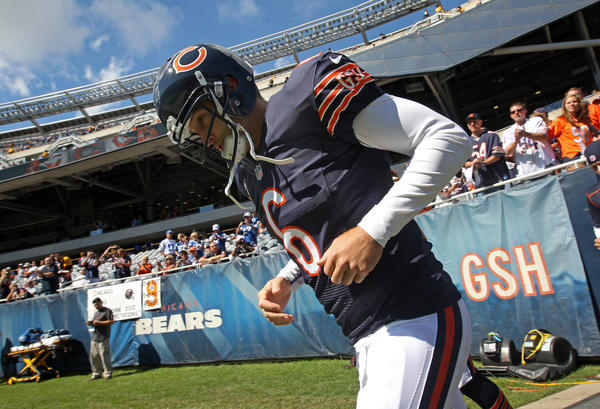 Chicago Bears quarterback Jay Cutler (6) makes his way to the field for warm ups before the start of the Chicago Bears ' game against the Indianapolis Colts at Soldier Field, in Chicago on Sunday, September 9, 2012.