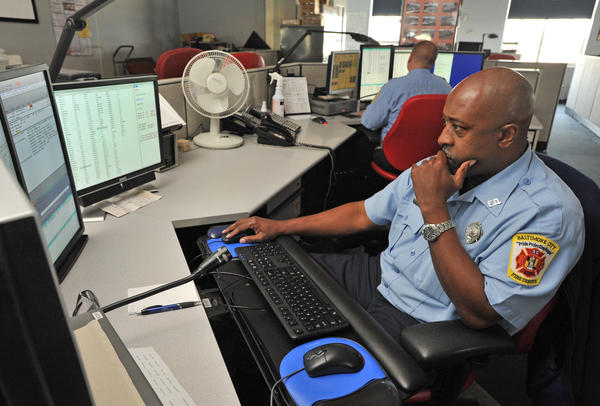 Dispatcher Bryan Chambers at the Baltimore City Fire Communications Center.