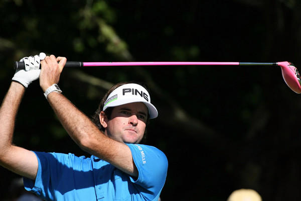 Bubba Watson tees off during the final round of the BMW Championship at Crooked Stick Golf Club.