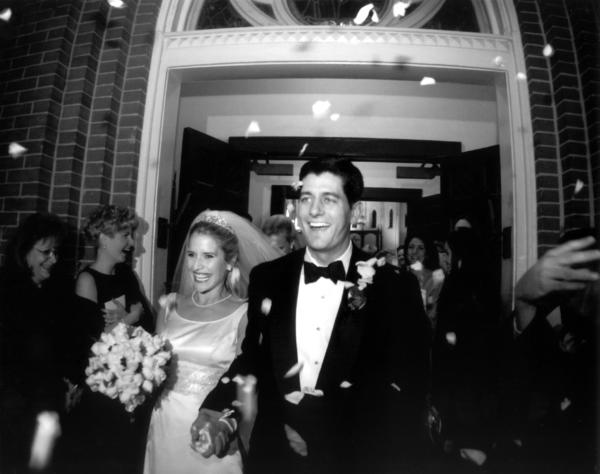 Paul Ryan's past: This undated photo provided by the Ryan family shows Paul Ryan and Janna Ryan on the day of their wedding. During his first term in Congress, Ryan met and married Janna Little, a lawyer and lobbyist from an affluent Oklahoma family, who was working in the Washington area.