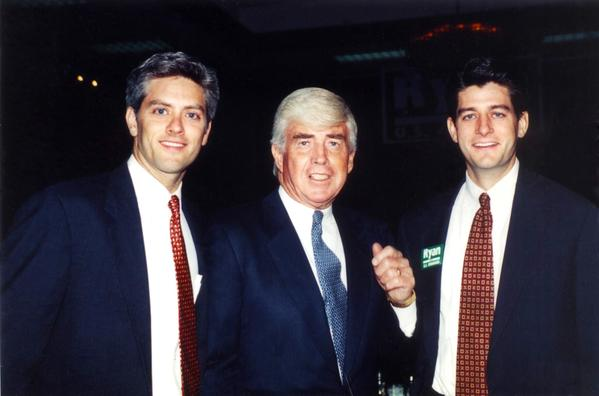 Paul Ryan's past: This 1998 photo provided by the Ryan family shows Paul Ryan, right, and his older brother Tobin Ryan, left, with Republican politician and former collegiate and professional football player Jack Kemp.