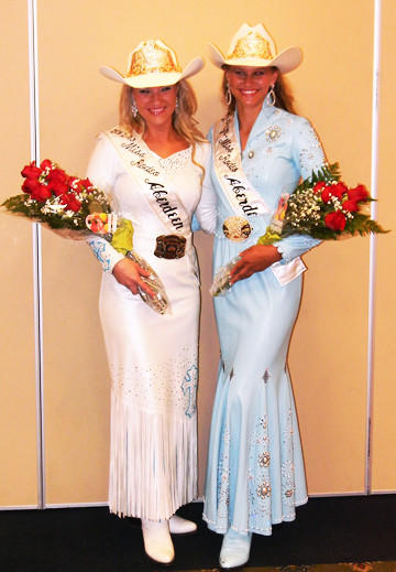 Melynda Sletten, left, was crowned Miss Rodeo Aberdeen and Natalie Prins was named Junior Miss Rodeo Aberdeen on Aug. 12. Sletten is the daughter of Lynn and Brenda Sletten of Aberdeen. Prins is the daughter of Bryan and Sheila Prins of Sisseton.