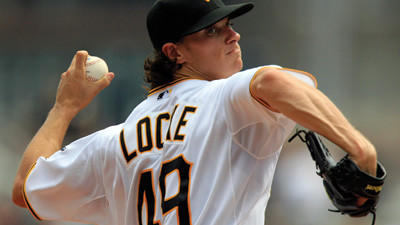 Pittsburgh Pirates starting pitcher Jeff Locke throws against the Chicago Cubs on Sunday.