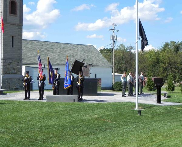 International Association of Firefighters Local 1813 and V.F.W Post 1599 post colors at Sunday's 9/11 Memorial Service at Franklin County Veterans' Memorial Park at Letterkenny Army Depot.