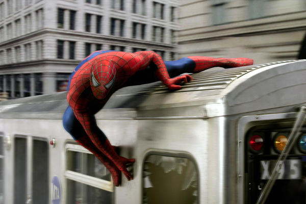 "A shot of Toby Maguire in Columbia's ""Spider-Man 2,"" one f the many films Geoffrey Ammer worked on while with Sony Pictures."