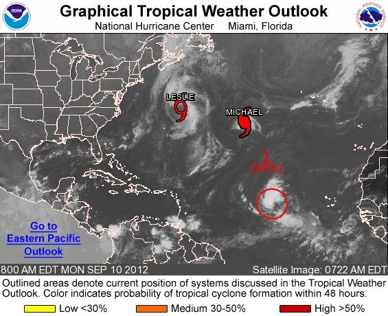 A new tropical depression or storm is likely to form in the eastern Atlantic.