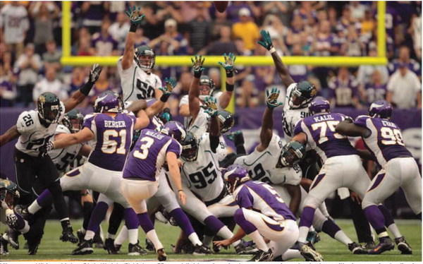 Minnesota Vikings kicker Blair Walsh (3) kicks a 55-yard field goal to tie the game against the Jacksonville Jaguars in the final seconds of regulation. The Vikings defeated the Jaguars in overtime, 26-23, at The Metrodome in Minneapolis Sunday. MCT Photo