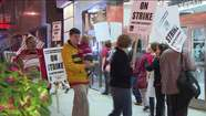 Teachers walk picket lines this morning