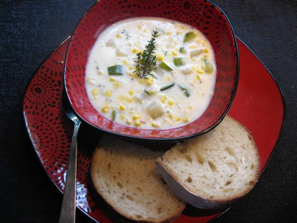 This corn chowder can be made with kernels from summer that you've frozen.