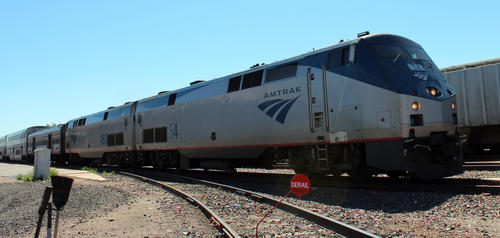The Empire Builder No. 7 train with its two engines stops briefly in Williston, North Dakota to pick up dozens of passengers, but keeps its engines running.