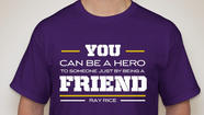 Ray Rice continues to stand up against bullying by designing a T-shirt that will help raise money to fight the problem.