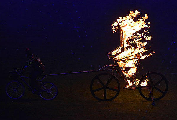 "No, it's not Nicolas Cage doing ""Ghost Rider 5,"" but rather a way cool performance during closing ceremonies from the London 2012 Paralympics Games on Sept. 9. We're impressed."
