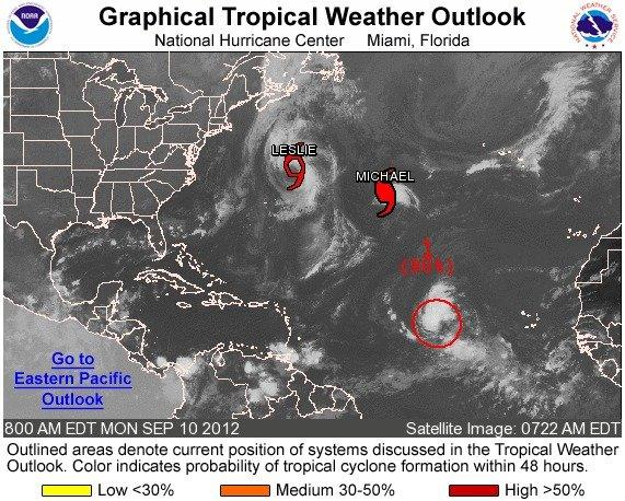 A tropical system in the Atlantic has a 90 percent chance of becoming Tropical Storm Nadine in the next 48 hours.