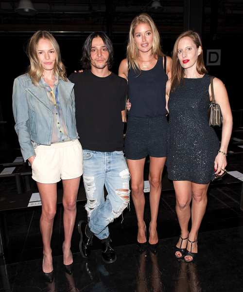 (L-R) Actress Kate Bosworth, designer Olivier Theyskens, model Doutzen Kroes, and filmmaker Liz Goldwyn attend Theyskens' Theory Spring 2013 at Skylight at Moynihan Station.