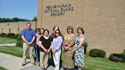 Several members of the 2012 job fair committee were checking out the new site for this year's event: the Pennsylvania National Guard Armory off Route 281. Committee members are from left, back row: Adam Bowser, Pennsylvania Highlands Community College; Cathy Lilly, Pennsylvania CareerLink - Somerset; Debbie Gary-Taskey, Somerset County Economic Development Council; Sandy Berkebile, Somerset County Chamber of Commerce; Sharon Clapper, Clappers Industries; Brianna Livingston, Allegany College of Maryland; front row: Debi Balog, Johnstown Area Regional Industries; and Kerri Burtner, Somerset County commissioners staff.