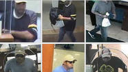 Surveillance photos of a man suspected of robbing five downtown banks in the last month. FBI photos