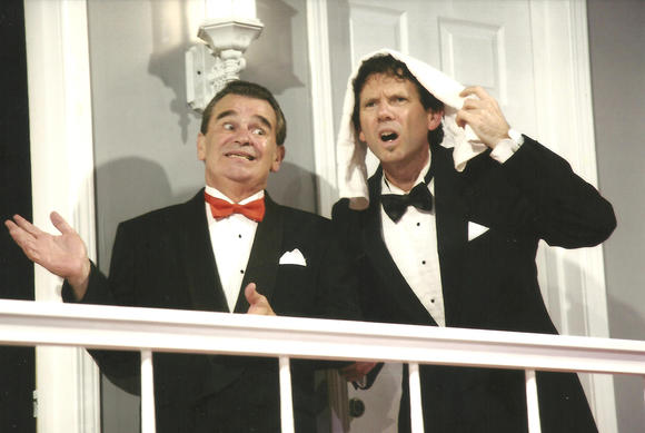 "Mitch Nunn and Greg Wickes in ""Rumors"" at the Huntington Beach Playhouse."