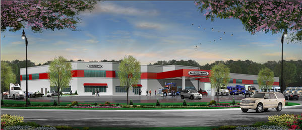 Drawing of Freightliner's new parts, service and sales center at at 16777 Halfway Blvd. in Hagerstown.