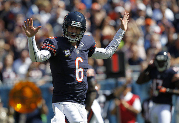 Bears quarterback Jay Cutler tries to quiet the home crowd against the Colts on Sunday.