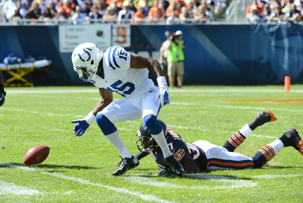 Bears linebacker J.T. Thomas forced a key fumble by the Colts' LaVon Brazill on a kickoff return.