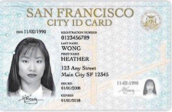 A sample San Francisco city identifcation card.