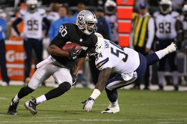 Oakland Raiders wide receiver Rod Streater (80) runs with the ball against San Diego Chargers. (Reuters)