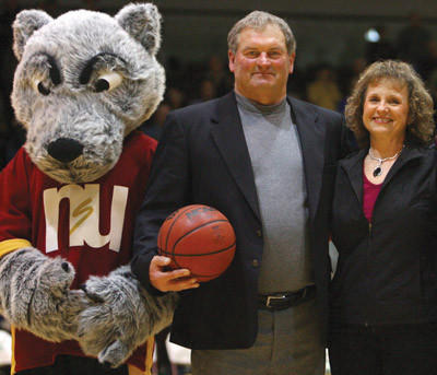 NSU mascot Thunder, Northern State womens basketball coach Curt Fredrickson and wife, Vicki, celebrated Fredricksons 700th career win at Wachs Arena in Aberdeen earlier this year. American News File Photo by John Davis