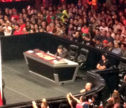 WWE announcer Michael Cole shows his concern after his broadcast partner, Jerry Lawler, suffered a heart attack during Raw in Montreal.