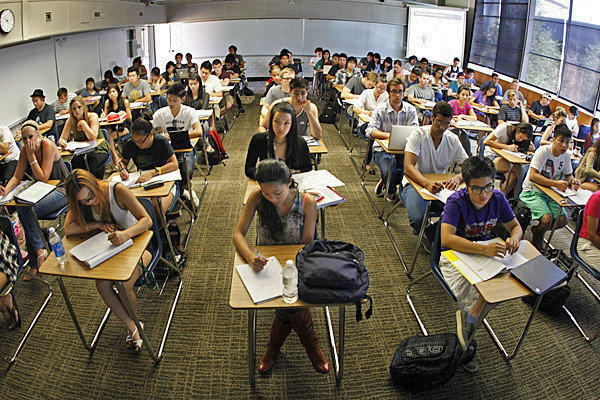 Historic, system-wide registration policies approved by the governing board of California's community colleges favor students who have a specific education plan and have completed orientation and assessment tests. Above, students at Orange Coast Community College in Costa Mesa last year.