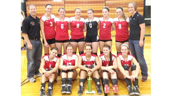 The J-L volleyball squad in celebration after a 2nd place finish at the Pine River Invitational.