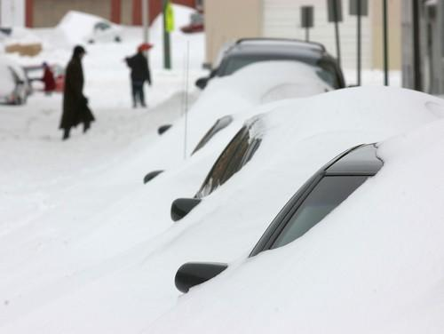 Drifting snow covered cars parked along Fawn Street in Little Italy in a February 2003 blizzard.