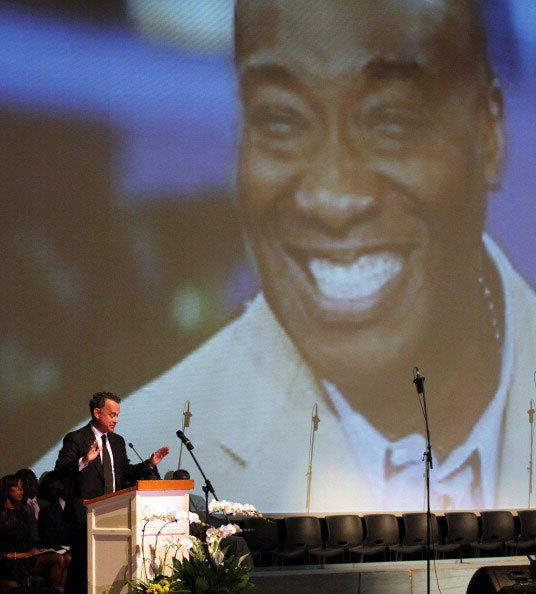 Tom Hanks speaks onstage during Michael Clarke Duncan's Memorial Service at Forest Lawn Cemetery on September 10, 2012 in Los Angeles, California.