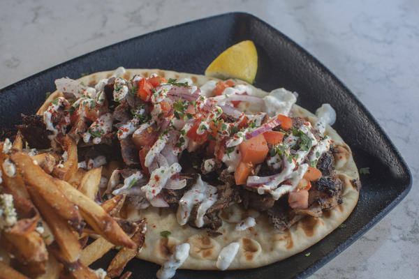 Lamb and beef gyro with Greek fries at Covo Gyro Market in Wicker Park
