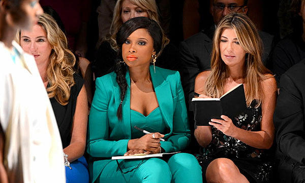 Jennifer Hudson and Nina Garcia take notes during the Project Runway Spring 2013 fashion show at New York Fashion Week on Sept. 7.
