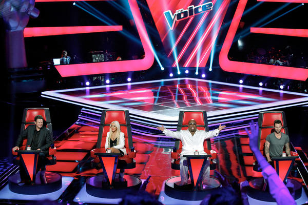 """The Voice"" judges Blake Shelton, Christina Aguilera, Cee Lo Green and Adam Levine."