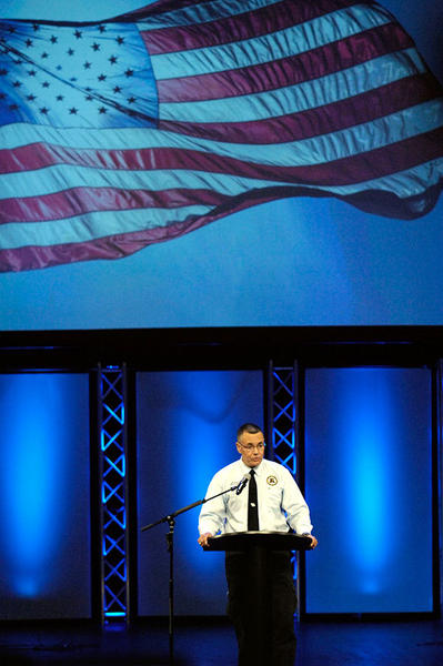 Dr. Raul Diaz, a Major in the U.S. Army Reserve and the keynote speaker at Tuesday's 9/11 Countywide Remembrance Ceremony, speaks to the crowd of first responders and citizens attending the ceremony Tuesday morning at Christ Fellowship Church in Palm Beach Gardens.