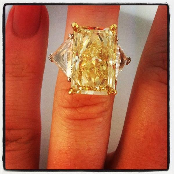 A Raymond Lee Jewelers' 12.02-carat radiant fancy yellow diamond similar to Kim Rothstein's 12.08-carat fancy intense yellow diamond.
