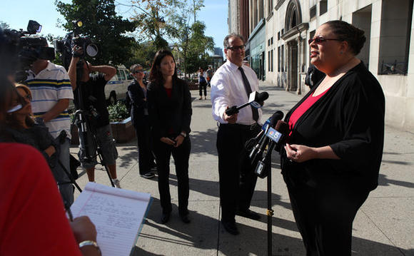 Chicago Teachers Union President Karen Lewis talks to reporters before heading into negotiations at 8 S. Michigan Ave. in Chicago on the second day of the strike.