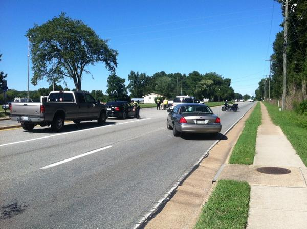 Both lanes of Armistead Avenue in Hampton are blocked off Tuesday from Butler Farm Road to Commander Shepard in front of Langley Air Force Base because of suspected explosives at the base's gate.