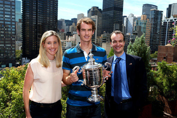 Andy Murray with the U.S. Open Championship trophy next to the British Consul-General Danny Lopez and his wife, Susan Grieve, during his New York City trophy tour Tuesday.