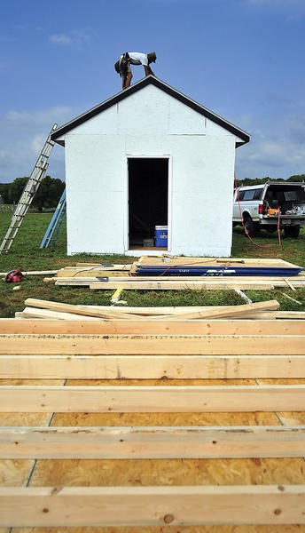 Mark Beasley of Williamsport finishes the replica building of the Dunker Church on the Lagacy Manor Farm in Boonsboro the site for the Battle of Antietam re-enactment. 150th Anniversary of Antietam re-enactment will be Saturday, Sept. 15, and Sunday, Sept. 16, at Legacy Manor Farm, 2 miles north of Antietam Battlefield off Md. 65, Sharpsburg.