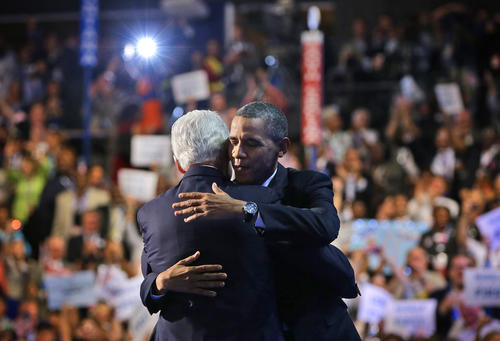 President Obama hugs former President Clinton on stage at the Democratic National Convention in Charlotte, N.C.