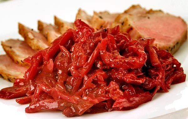 "Shredded apple lends sweetness to red cabbage, slowly braised in duck or bacon fat with a fragrant mix of orange and apple juices, red wine and spices. <a href=""http://www.latimes.com/features/food/la-fo-stefan-richter-rec1-20101028,0,6985919.story"">Click here for the recipe.</a>"