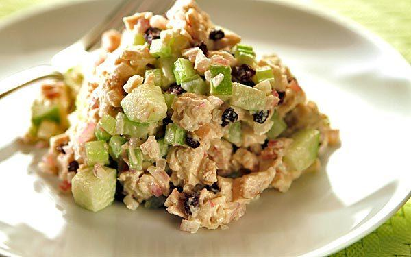 "The chicken salad at Lunch in Culver City is a deliciously simple dish. It combines diced chicken with a little red onion, celery, currants and apple for a nice crunch, great color and a wonderfully fresh combination of flavors not unlike a classic Waldorf. And it's just as easy to prepare. <a href=""http://www.latimes.com/features/food/la-fo-sos-greenapplechixsalad-20110106,0,7568986.story"">Click here for the recipe.</a>"
